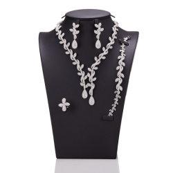 Plaqué or avec Earring Bracelet Bague Necklace Silver bijoux Set