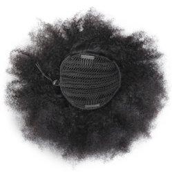 De Broodjes van het Haar van de Paardestaarten van Drawstring van de Rookwolk van Afro 100% Haarstukjes van de Manier van de Krul Afro van de Toebehoren van het Menselijke Haar Donkere Bruine Kroezige