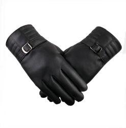 女性のための標準的で黒い女性皮手袋