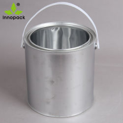 Lata de metal de 5 litro com tampa selada e alça plástica para uso de tinta