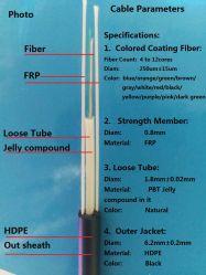 En el exterior del cable de fibra óptica de fibra de plástico reforzado con fibra 4núcleos 46core6 de fibra fibra8core 812core de fibra de 12