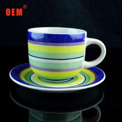 350ml de cores de qualidade superior em cerâmica vidrada grés chá xícaras de café com Pires define