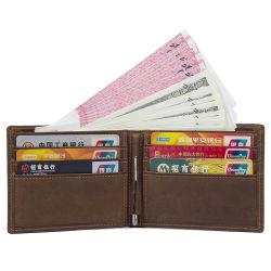 아마존 최신 판매 포도 수확 브라운 가죽 RFID는 지갑 남자를 위한 가죽 돈 클립 호리호리한 지갑을 카드에 적는다