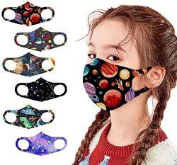 6 PCS Kids Planet Cartoon Print Face_Masks ファッション保護、再利用可能で通気性に優れた快適なフェイスコットン素材、屋外でのボーイズガールズ用