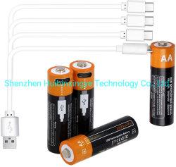 batería recargable Li Ion 1,5V AA AAA reutilizable tipo C USB Batería de litio puerto de carga