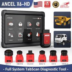 الماسحة التشخيصية لشاحنة أنسيل X6 HD للخدمة الشاقة لـ Isuzu نظام الفرامل المانعة للانغلاق للوسادة الهوائية DPF OBD2 الخاص بشاحنات الديزل التي تعمل بنظام تشخيص العطل OBD أداة المسح الضوئي
