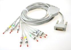 10本の導線が付いているSchiller EKGの忍耐強いケーブル、クリップ、スナップ、バナナ、DINの女性の終り