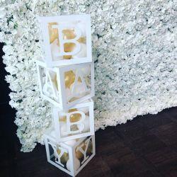 Decoração de Bebé acrílico chuveiro caixa de exibição branco