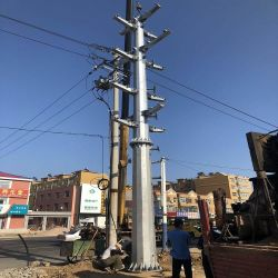Zhongda 35kv de tubo de alimentación de la torre de comunicación único poste de acero poste de acero de personalización de dibujo de la torre de poste de acero 10kv