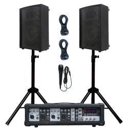 4チャネル800W Bluetoothは2PCSと10インチの木のキャビネットのスピーカープロDJ System+Microphone+Cable+Stand&Modelに動力を与えた