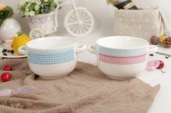Nova cerâmica bone china Duplo Criativo Ear tigela de sopa com Design Personalizado