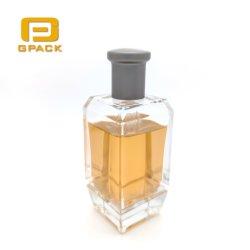 Bottiglia di profumo piacevole di Colonia di apparenza con la bottiglia di profumo di alluminio grigia dell'insieme completo della protezione con la bottiglia di olio di vetro di timbratura calda della decalcomania di seta di stampa