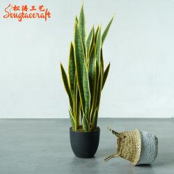 Hot Sale jaune de haute qualité décorative plante serpent Sansewieria artificielle bonsaï