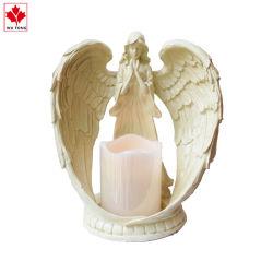 カスタム樹脂の天使の女の子によってはLEDの電子蝋燭表の装飾のホームデスクトップの装飾教会装飾が飛ぶ
