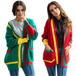 Loose-Fitting Long-Sleeve Вязаная кофта с вышитым свитер и трикотажные свитер