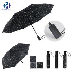 비 우산을 인쇄하는 별에 열려있는 3개의 겹 자동차