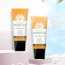 Vendita a caldo OEM Anti invecchiamento naturale viso lozione corpo impermeabile SPF 30 crema solare di vitamina C.