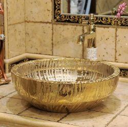 Round Electroplated Chuveiro Cerâmica Gold Lavatório Designs para sala de jantar