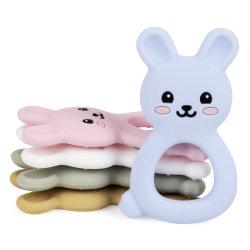동물 유아테더 버니 모양 치아발라 펜던은 씹을 수 있는 DIY용 목걸이 음식 등급 토들러 치테더 장난감