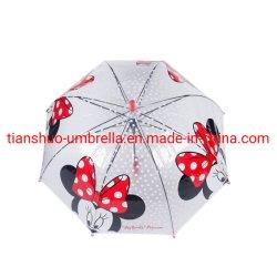 Mouse Disney PoE Auto. Apri il bastone dritto trasparente ombrello bambino bambino Umbrello J manico leggero