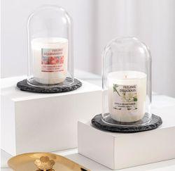 多彩な真珠の白いガラス蓋のスレートのロウソクはギフト用の箱との3のセットされた蝋燭をかぎつけた