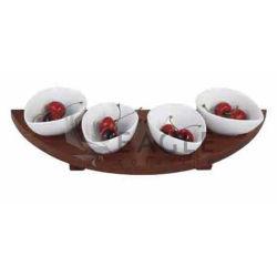 Salsa de madera con cuencos de porcelana