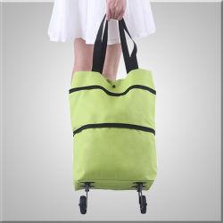 À prova de água e ultra leve Packable Sacola grande de Compras Dobrável e Bolsa reutilizáveis, Moda Promoção Sacola de Compras com Rodas