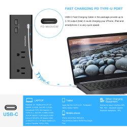 2 USBおよび1つのタイプC USBが付いているサージ・プロテクター2のアウトレットが付いている壁の蛇口
