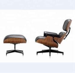 Direto da fábrica feitas Rosewood / folheado de madeira de nogueira Lounge salão Fauteuil cadeira de couro com apoio para pés Tantra Presidente