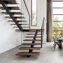 [أمريكن] معياريّة درجة وحيد أحاديّة [ستيل بم] فولاذ درابزين زجاجيّة خشبيّة خطوة درجة