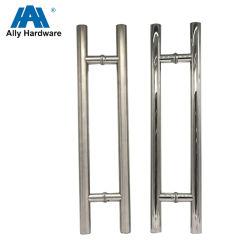 Tipo commerciale maniglia di H di portello di vetro di scivolamento dell'acciaio inossidabile del lato del doppio