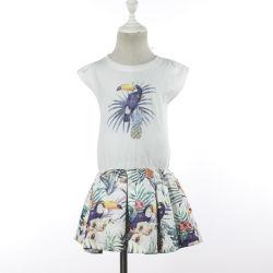 Beiläufiger Sommer-tropische Baumwolloberseite-Fußleisten-Kleider mit Drucken für Kind-Mädchen-Partei-Kleidung