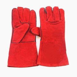 """14 """" of 16 """" Handschoenen van het Lassen van het Leer van de Zweep van de Veiligheid Rode"""