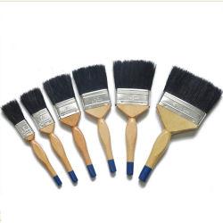 De professionele Zwarte Vlakke Borstel van het Handvat van de Kleur van het Mengsel van het Varkenshaar Plastic (GMPB012)