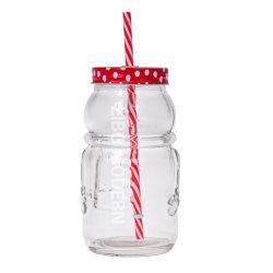 22 Oz Snowman はプラスチックわらが付いている石の瓶の mugs を形づけた すず製リッド - 保管用 Mason Jar - 低温飲料 グラスを飲む