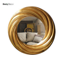 Gouden ronde inrichting PU-frame met spiegel