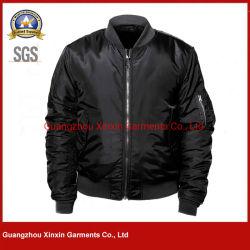 熱い販売の最新のデザイン黒のナイロンサテンのボマージャケットの人(J502)