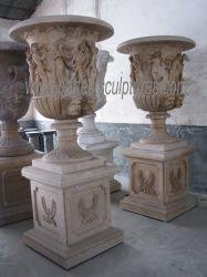 Maison en pierre sculptée décoratifs grande fleur Antique semoir pour la décoration de jardin (BAA524)