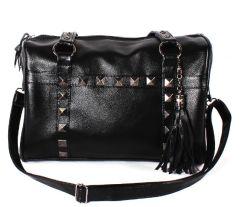 Metall nagelt schwarzen Beutel der Dame-Handbag Messenger Bag Boston
