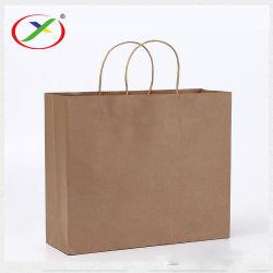 Sos коричневый крафт-Shopper магазинов с Логотип проведите рукой всей нижней части портативного обычная бумага мешки производство на заводе непосредственно