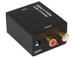 O novo Digital para Analógico Audi Owith Adaptador Conversor 3,5Mm Adaptador digital RCA coaxiais óptica Toslink sinal para o Conversor de áudio RCA
