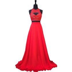 Vestido de noite Chiffon vermelho E201815 da dama de honra do laço do preto feito sob encomenda conservado em estoque do vestido do partido do baile de finalistas