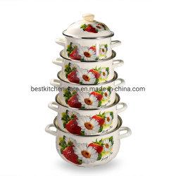 Neue Entwurfs-türkische Roheisen-Decklack-Kasserollegesetzter Cookware-Potenziometer Enamwlware Großverkauf