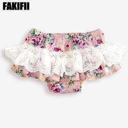 Vestuário de moda de qualidade superior de fabrico de vestuário de tecido de algodão Menininha Verão Stripe curtos com rendas bebê roupas de marca