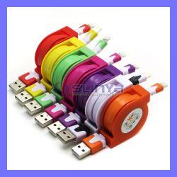 80cm nouilles plat coloré la synchronisation des données de charge câble USB rétractable pour iPhone 6 Plus 6 5s 5
