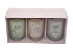 Conjunto de 3 Copo de vidro Dom Vela fixados com adesivo branco na caixa de cores para a festa da Páscoa