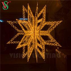 Acrílico dorado estrella 3D Motif Lights para exteriores decoraciones de Navidad