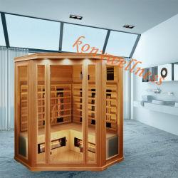 Grand angle loin Portable Infrarouge Sauna en bois sec fait de la pruche ou de cèdre avec tige en verre Cermic ou chauffage Ce et l'approbation ETL pour 4 à 5 personne