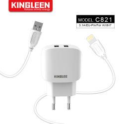 Carregador de parede inicial Adaptador e cabo de relâmpago 3.1A Kit de carregador com carga rápida para iPhone