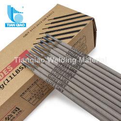 La más alta calidad de acero de bajo carbono varillas de soldadura AWS E6013 J421 Arena rutilo electrodo revestido/ material de soldadura